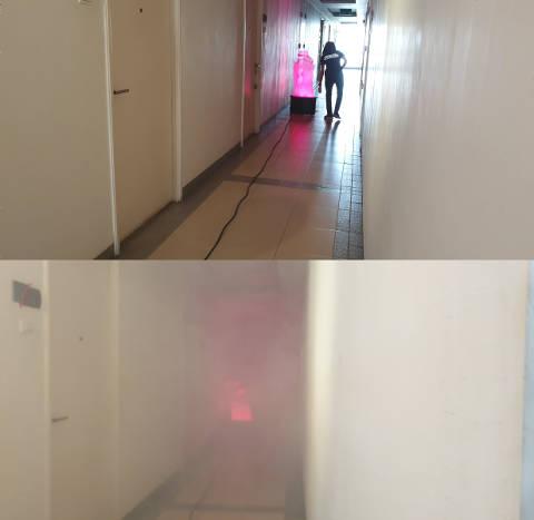 煙の充満実験
