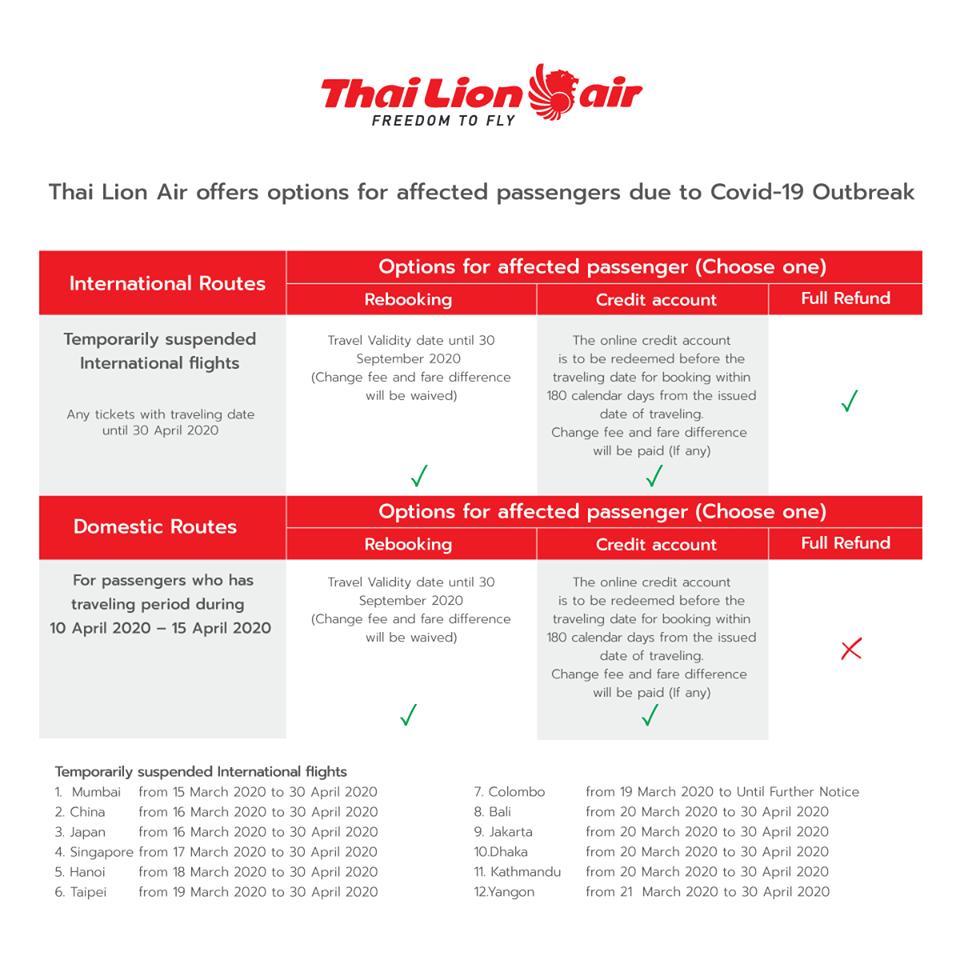 タイ・ライオンエア 国内線・国際線の運休